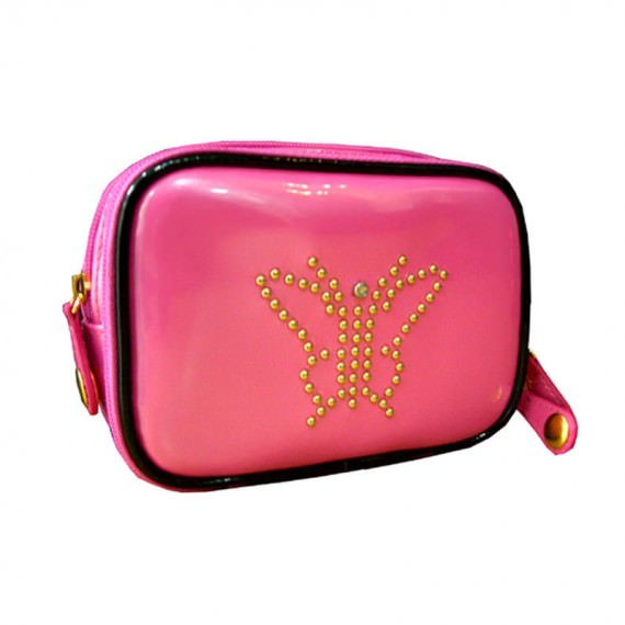 Shiny Pink Zipper Pouch with butterfly studs