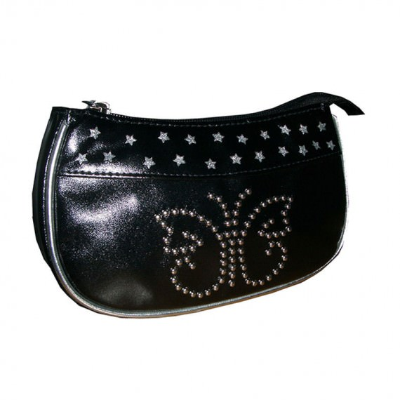 Cool Black Color Cosmetic Bag with butterfly Studs at the front