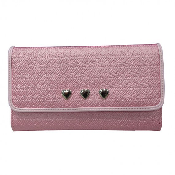 Pink Long Wallet with Heart Shaped Studs