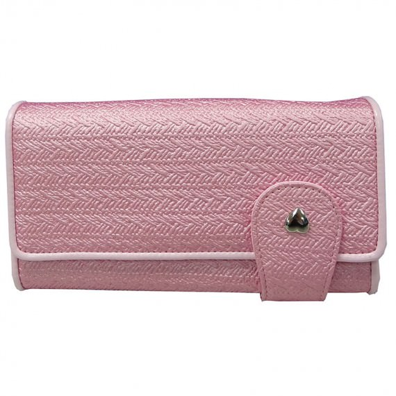 Pink Long Wallet with Heart Shaped Stud