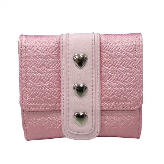 pink wallet with heart shaped studs