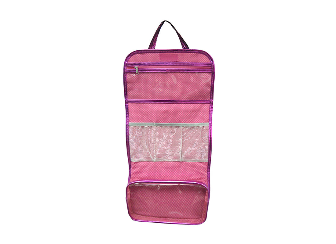 Shiny Pink Rollup Bag with Ribbon Closure Open