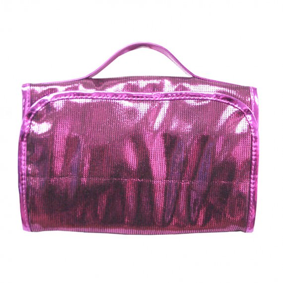 Shiny Pink Rollup Cosmetic Bag