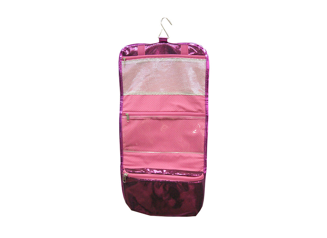 Shiny Pink Rollup Cosmetic Bag Open