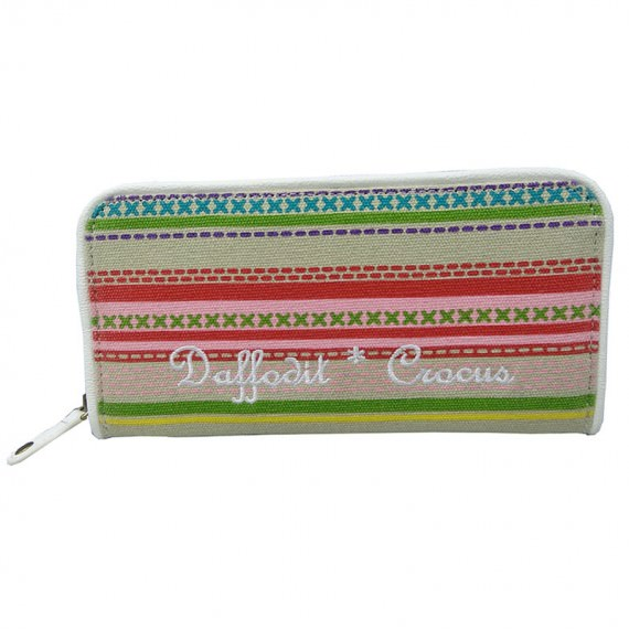 Colorful Striped Canvas Long Wallet
