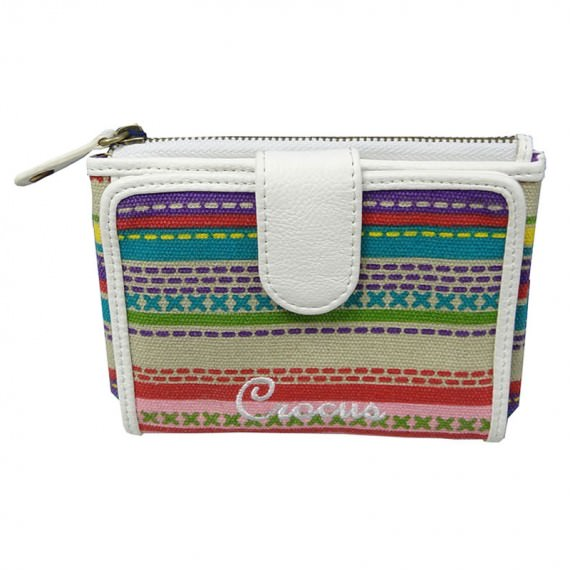 Colorful Striped Canvas Wallet with Coin Pocket