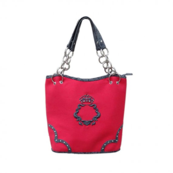 Canvas Tote Bags with Zipper in Red