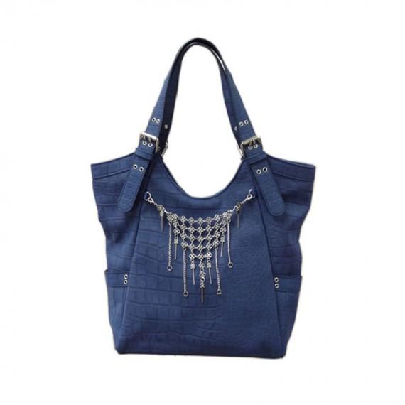 Dark Blue Handbag with Charm