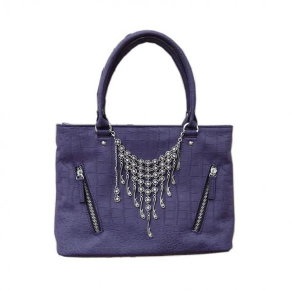 dark blue square tote with charm