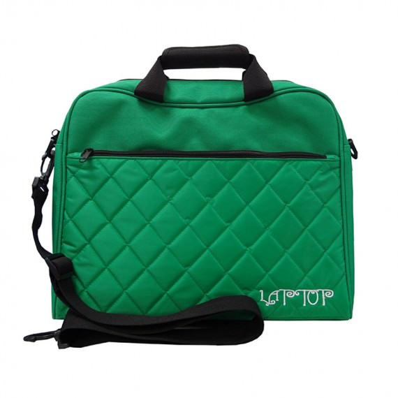 quilted laptop bag in green color