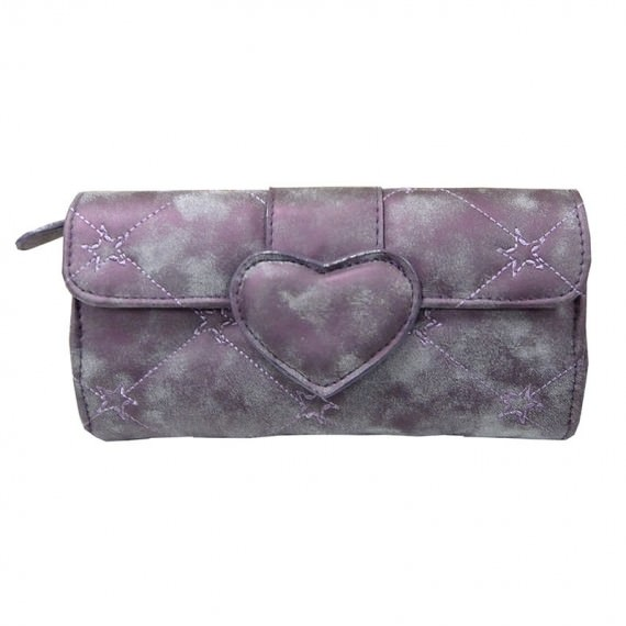 Quilted Cosmetic bag with Heart Shape Closure