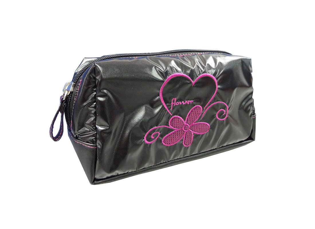 Black Cosmetic Bag with Pink Embrodiery Flower & Logo