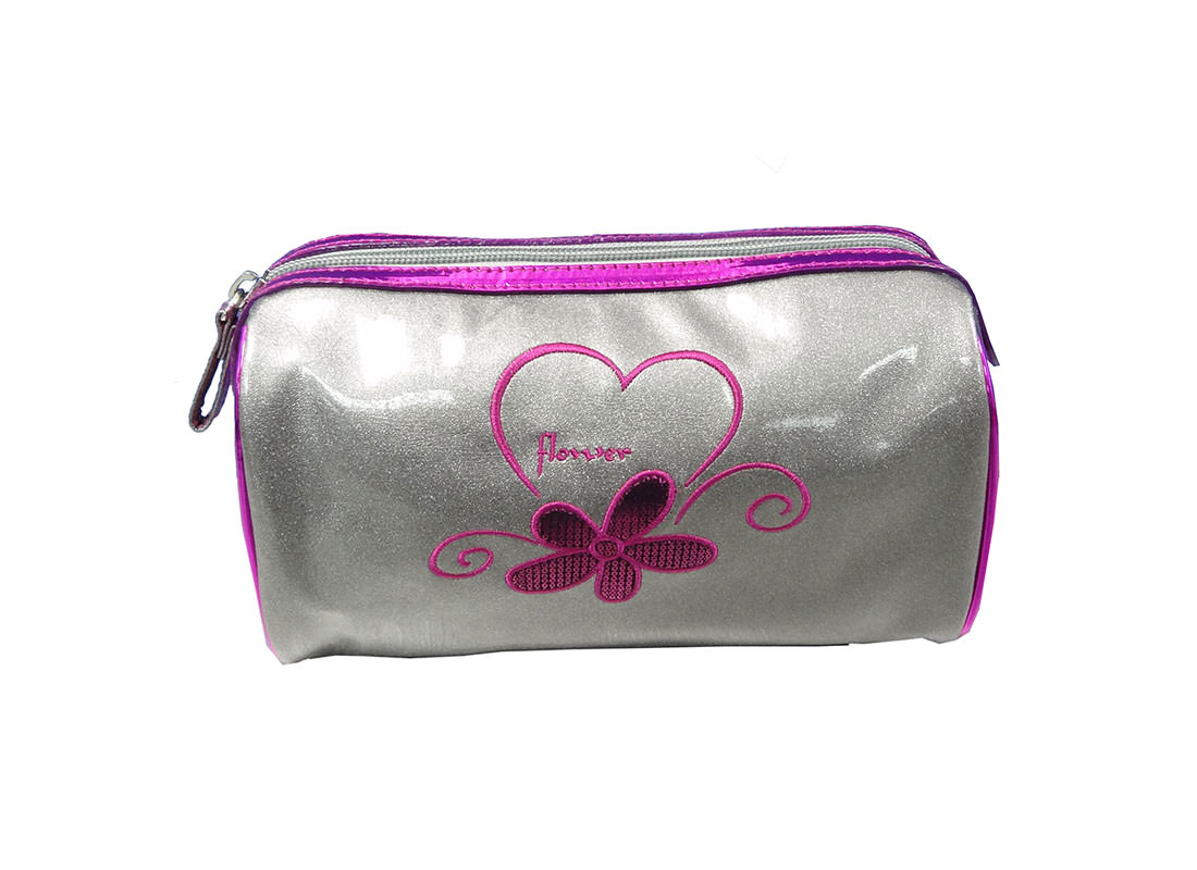 Silver Cosmetic Bag with Embrodiery Flower & Logo