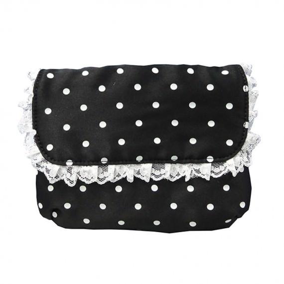 White Dot Print Cosmetic Bag