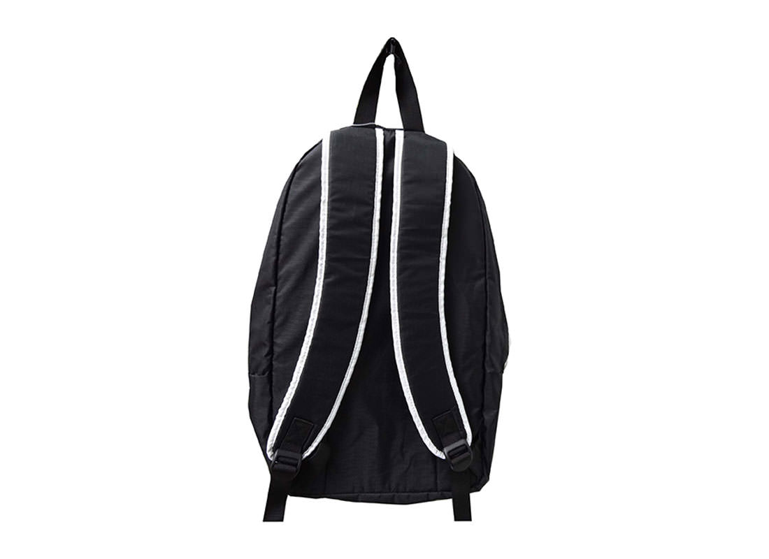 Simple Black Backpack with White Zippers back