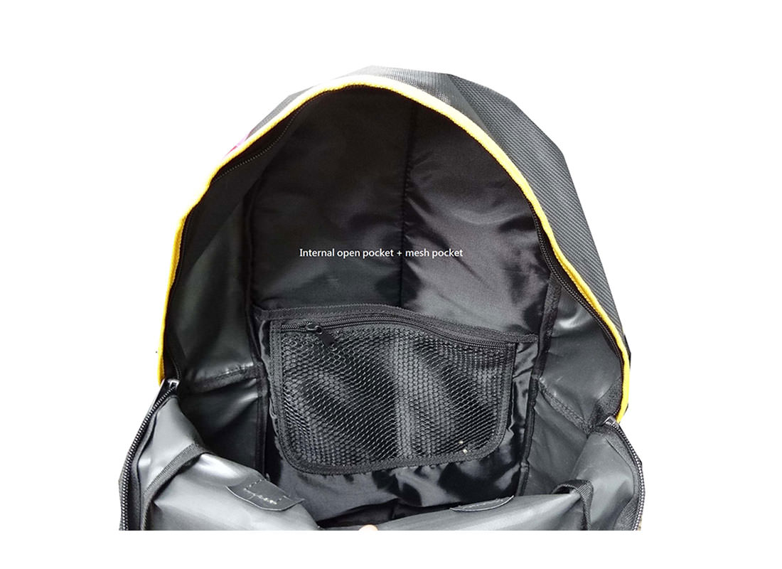 Black Backpack with Flap for Closure Interior