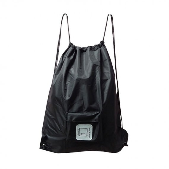Foldable Drawstring Backpack in Black