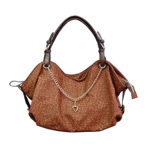 Leopard Tote Handbag in Brown Color