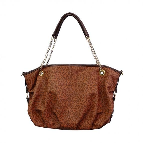 Leopard Handbag in Brown color