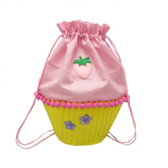 Pink Cupcake Shape Drawstring Bag for Children