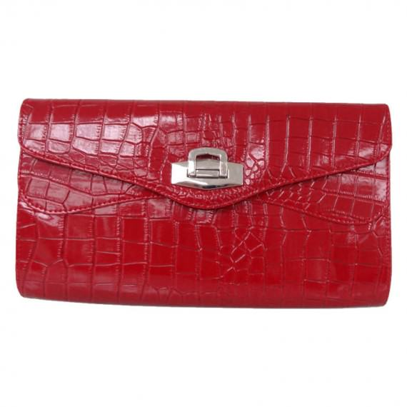 Synthetic Crocodile clutch bag in red