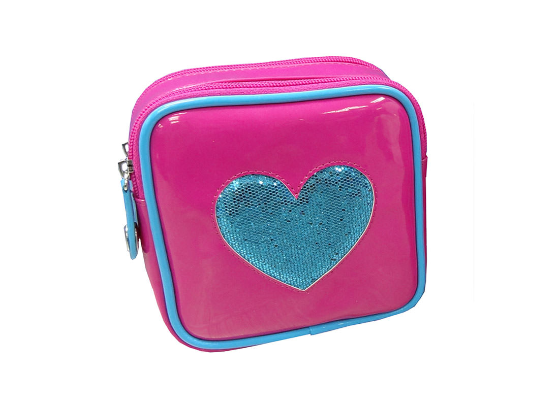 Double Zipper Square Cosmetic bag Top view