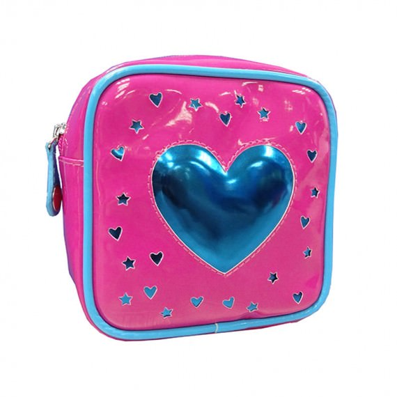 Square Zipper Bag with a Big Heart Shape patch