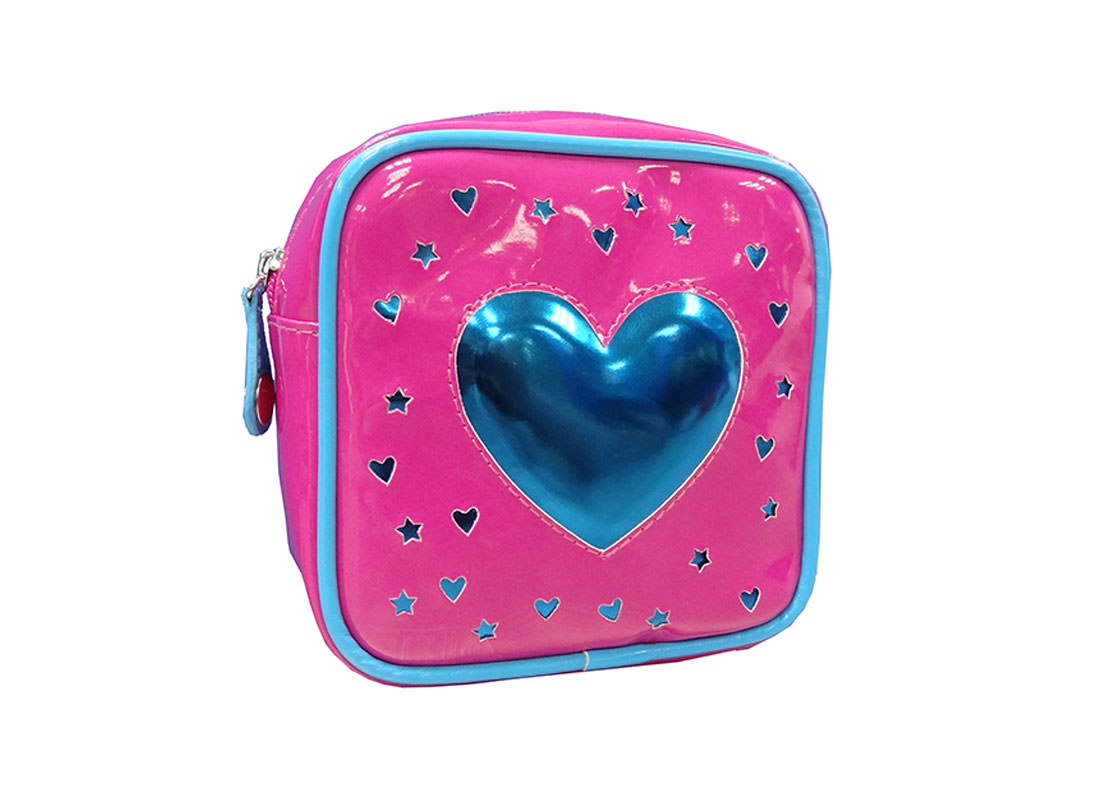 Square Zipper Bag with a Big Heart Shape patch