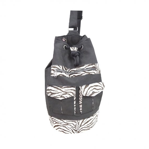 Canvas Drawstring Backpack with Artifical Zebra Fur