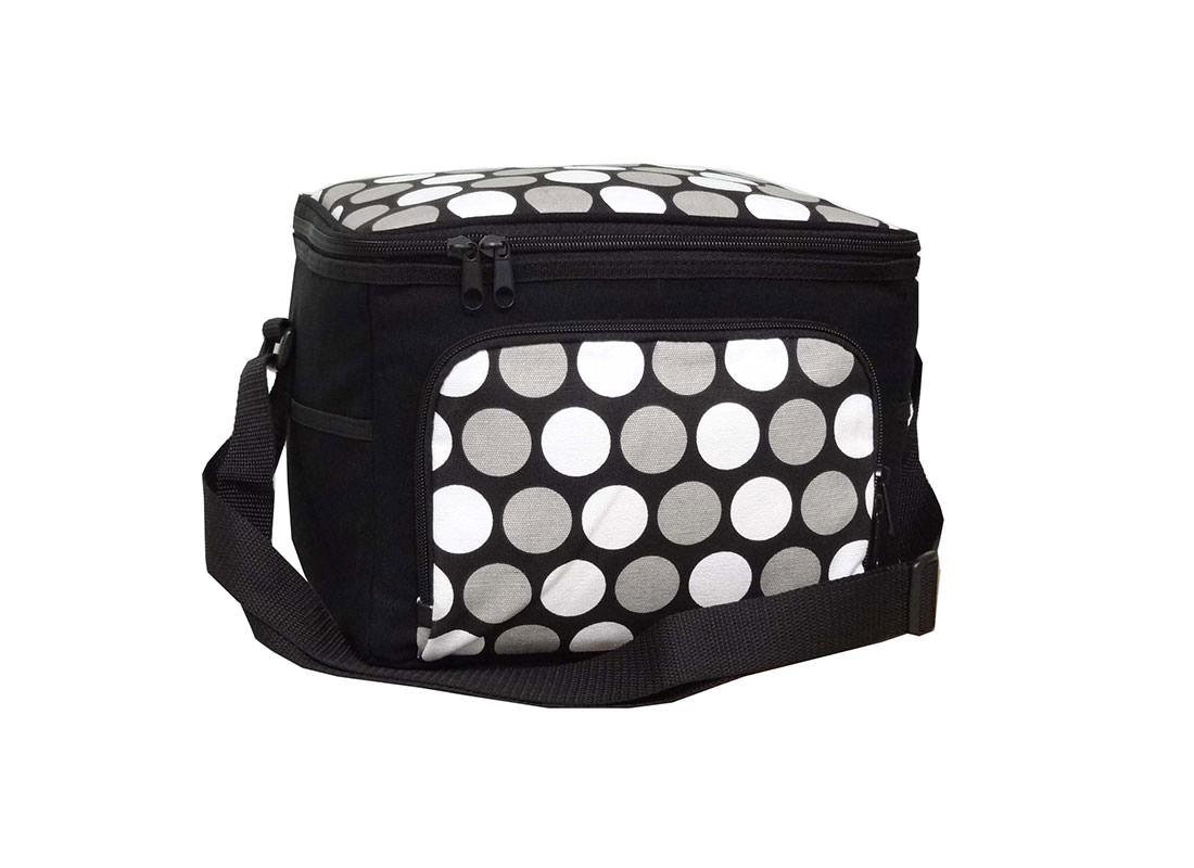 Black & White Dotted Canvas Cooler Bag