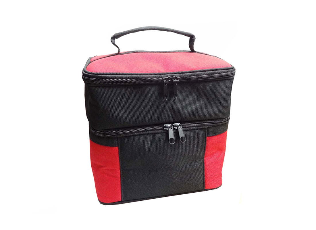 Two compartment Cooler Bag in Black & Red