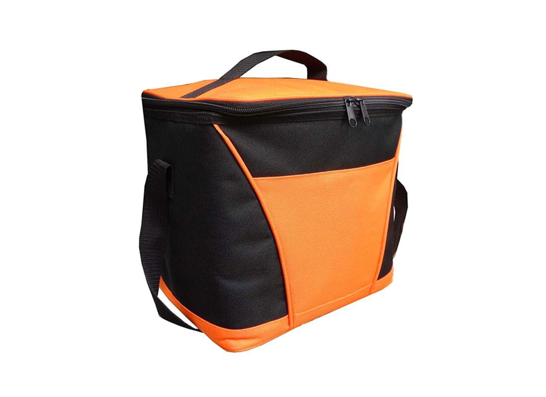 Insulated Cooler Bag in Orange & black side