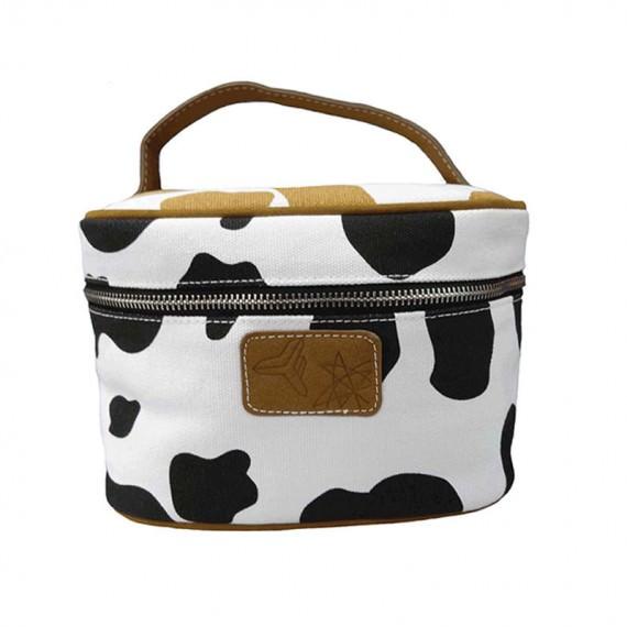Cow Makeup Bag with Handle