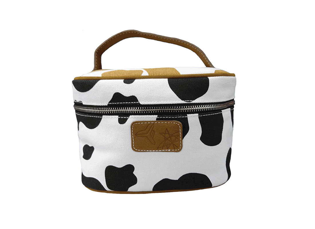 Cow Makeup Bag with Handle