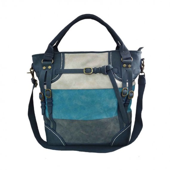 Fashionable Tote Bag in Blue & Grey