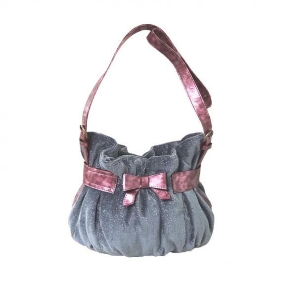Cute Handbag in Grey with Pink Ribbon