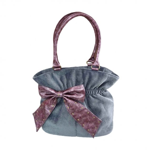 Grey Handbag with Bow