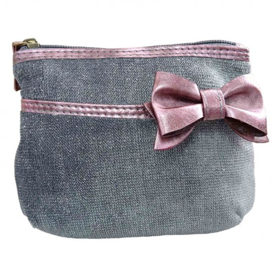 Glitter Bag / Cosmetic Bag with Pink Ribbon