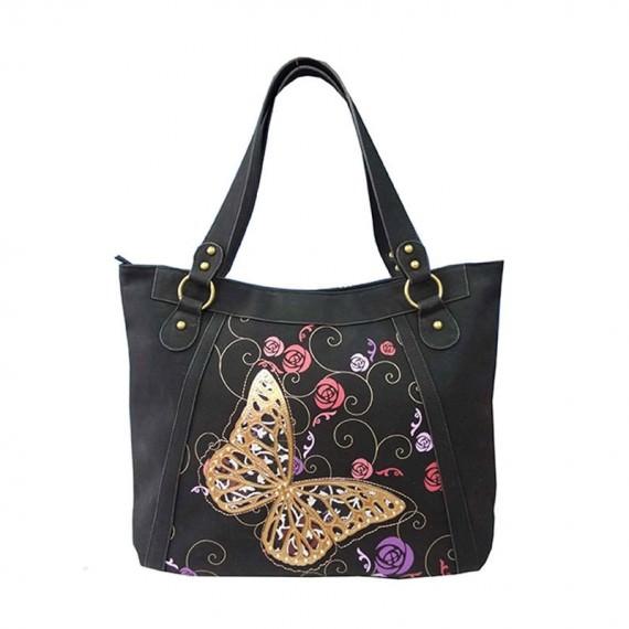 Butterfly Black Tote Handbag
