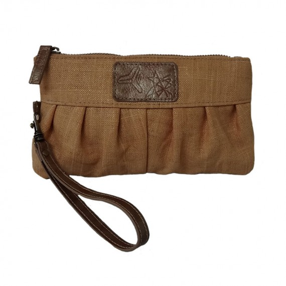 Cotton Zipper Clutch in Brown Color