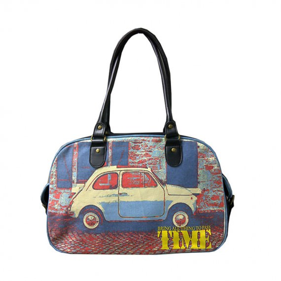 Boston Bag with Vintage Car Prints