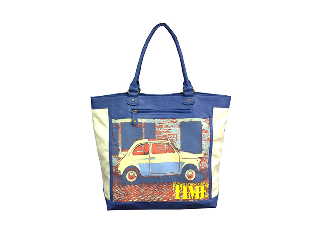 Canvas & PU Leather Tote Bag with Vintage Car Print