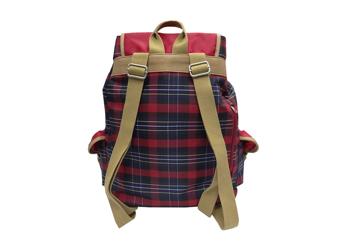 Red plaid Large backpack back