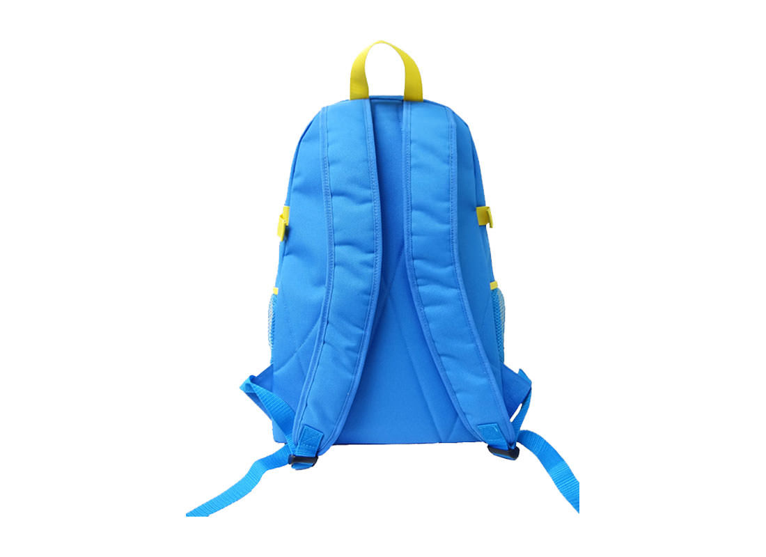 Sport Backpack in Sky Blue color with Yellow Trimming back
