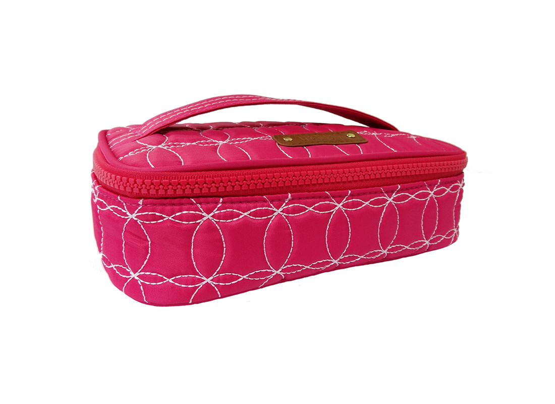 Quilted Makeup Bag in cherry Pink with handle