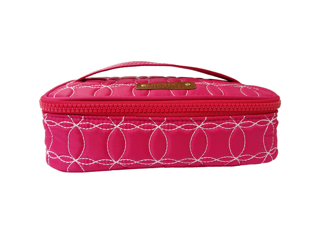 Quilted Makeup Bag in cherry Pink with handle front