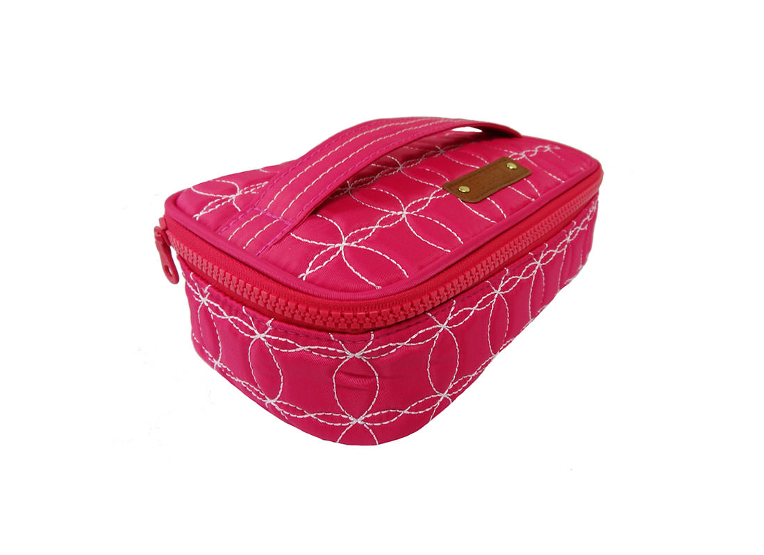 Quilted Makeup Bag in cherry Pink with handle side