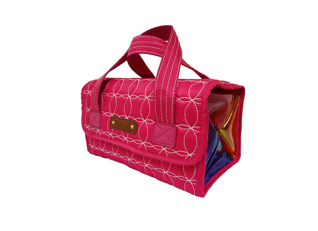 Rollup Bag Cosmetic Bag in Quilted Cherry Pink Side