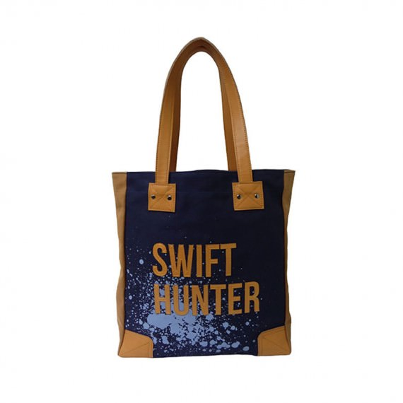 Strong Canvas Tote with word Swift Hunter Print