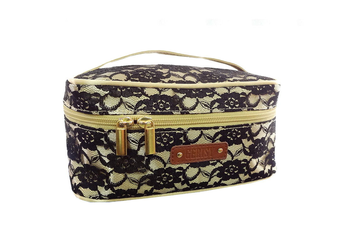 Black Lace Bag Cosmetic bag side
